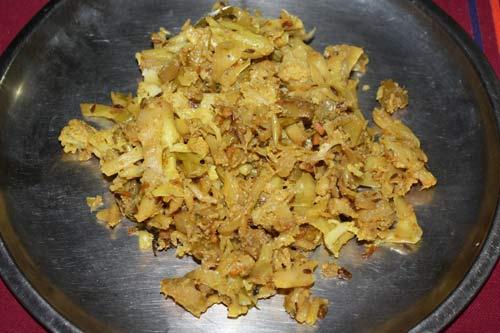 Phool Patta Gobi - Recipe for Ayurvedic Cabbage and Cauliflower - 5 Jan 13