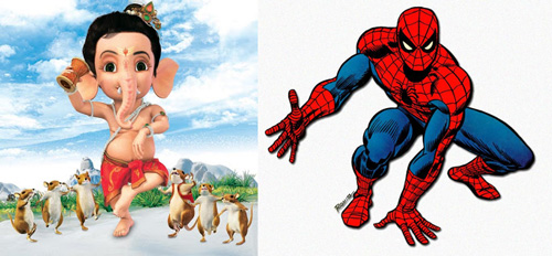 Ganesha and Spiderman – in a Child's Mind two equal Superheroes! – 17 Sep 13