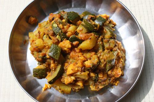 Recipe for Zucchini with Moong Badi - 8 Feb 14