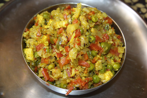 Recipe for a Mixed Vegetable Dish with Paneer - 2 Aug 14