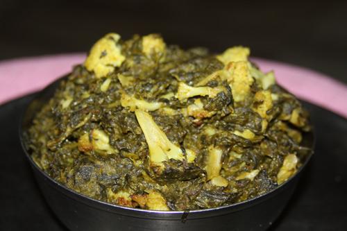 Palak Gobi - Recipe for Spinach with Cauliflower - 14 Feb 15