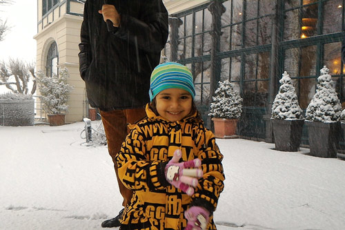 Apra enjoying the first Snow of her Life in Germany - 23 Nov 15