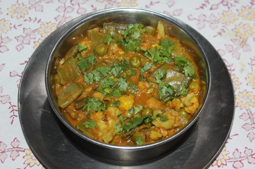 Gobhi Sem Matar – Recipe for Cauliflower, Broad Beans and Green Peas – 30 Jan 16