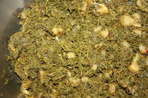 Chane ka Saag Recipe - Chickpea Leaves with Potatoes - 21 Jan 12